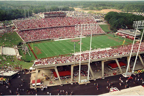 a football stadium packed with sports fans