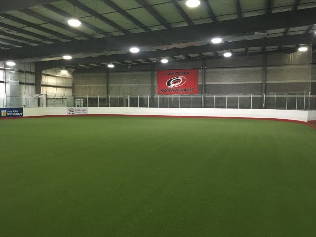 an indoor soccer field