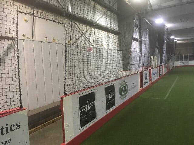 an indoor soccer wall